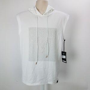 19V69 Sleeveless Hoodie Shirt Sz S White A8